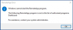 The following RemoteApp program is not in the list of authorized programs on Windows Essential Server