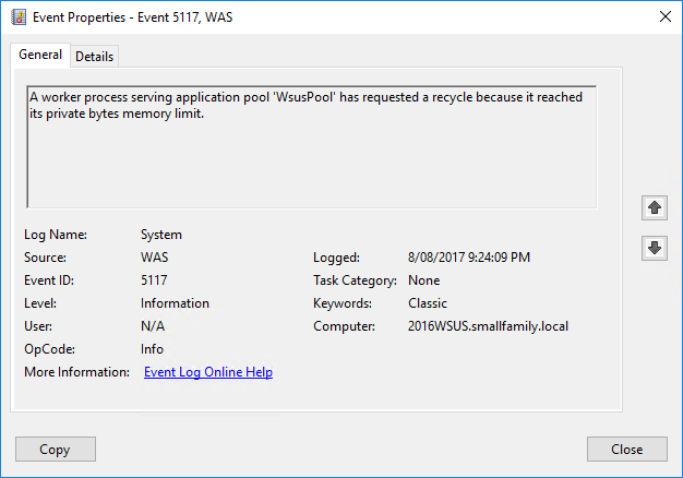 WSUS on Windows Server 2016 crashes periodically