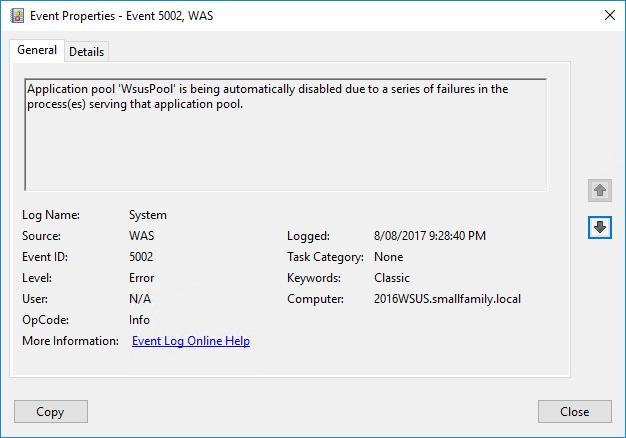 WSUS on Windows Server 2016 crashes periodically